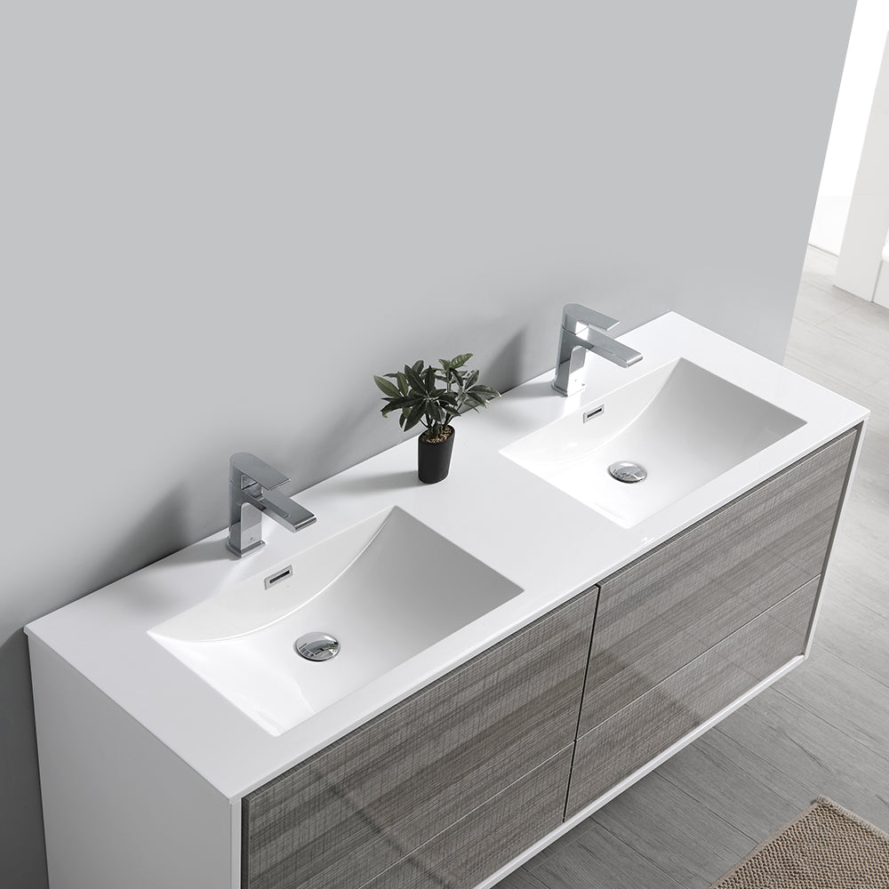 "Fresca Catania 60"" Glossy Ash Gray Wall Hung Double Sink Modern Bathroom Vanity w/ Medicine Cabinet"