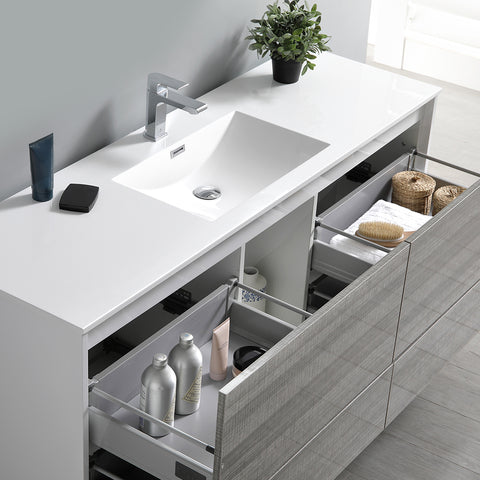 "Image of Fresca Catania 60"" Glossy Ash Gray Wall Hung Single Sink Modern Bathroom Vanity w/ Medicine Cabinet"