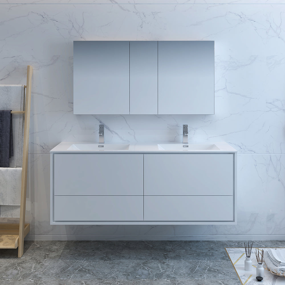 "Fresca Catania 60"" Glossy White Wall Hung Double Sink Modern Bathroom Vanity w/ Medicine Cabinet"