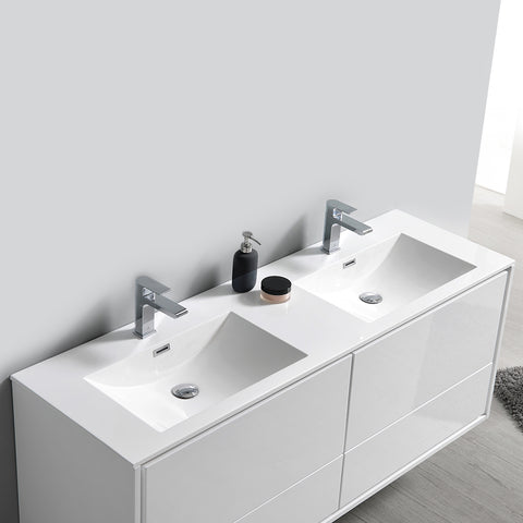 "Image of Fresca Catania 60"" Glossy White Wall Hung Double Sink Modern Bathroom Vanity w/ Medicine Cabinet"