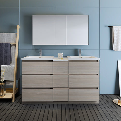 "Image of Fresca Lazzaro 60"" Gray Wood Free Standing Double Sink Modern Bathroom Vanity w/ Medicine Cabinet"