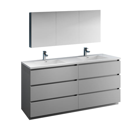 "Image of Fresca Lazzaro 72"" Gray Free Standing Double Sink Modern Bathroom Vanity w/ Medicine Cabinet"
