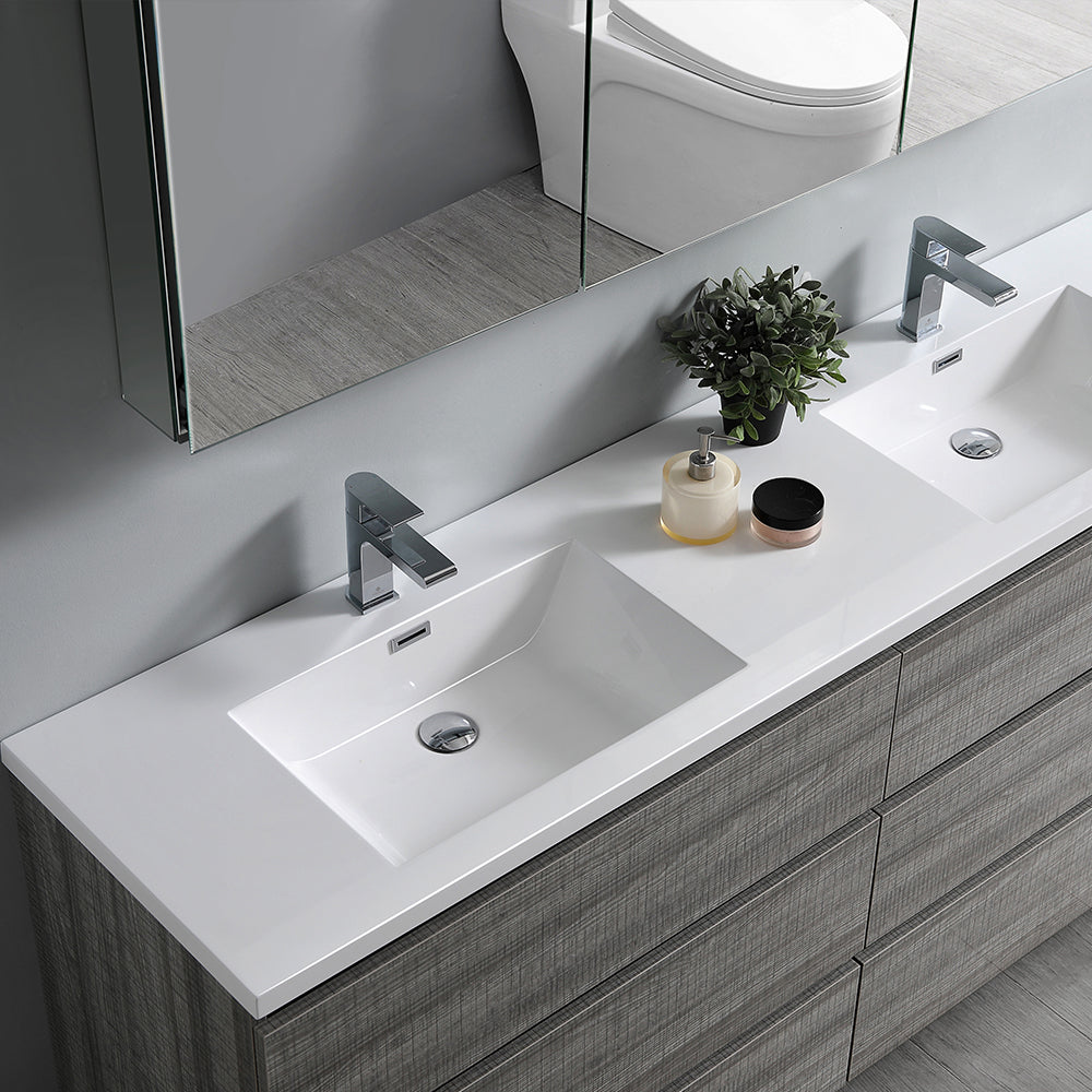 "Fresca Lazzaro 72"" Glossy Ash Gray Free Standing Double Sink Modern Bathroom Vanity w/ Medicine Cabinet"