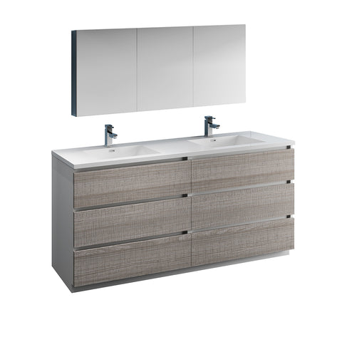 "Image of Fresca Lazzaro 72"" Glossy Ash Gray Free Standing Double Sink Modern Bathroom Vanity w/ Medicine Cabinet"