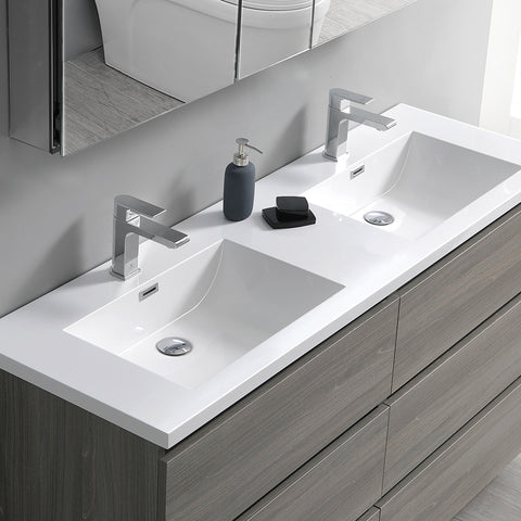 "Image of Fresca Lazzaro 72"" Gray Wood Free Standing Double Sink Modern Bathroom Vanity w/ Medicine Cabinet"