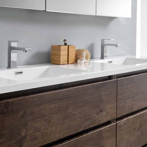 "Image of Fresca Lazzaro 72"" Rosewood Free Standing Double Sink Modern Bathroom Vanity w/ Medicine Cabinet"