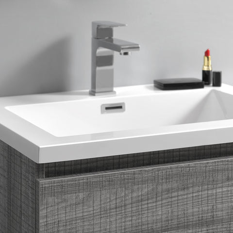 "Image of Fresca Lazzaro 24"" Glossy Ash Gray Free Standing Modern Bathroom Vanity w/ Medicine Cabinet"