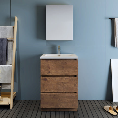 "Image of Fresca Lazzaro 24"" Rosewood Free Standing Modern Bathroom Vanity w/ Medicine Cabinet"