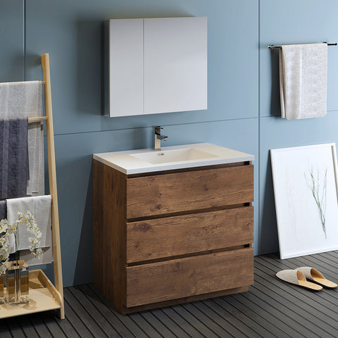 "Image of Fresca Lazzaro 36"" Rosewood Free Standing Modern Bathroom Vanity w/ Medicine Cabinet"
