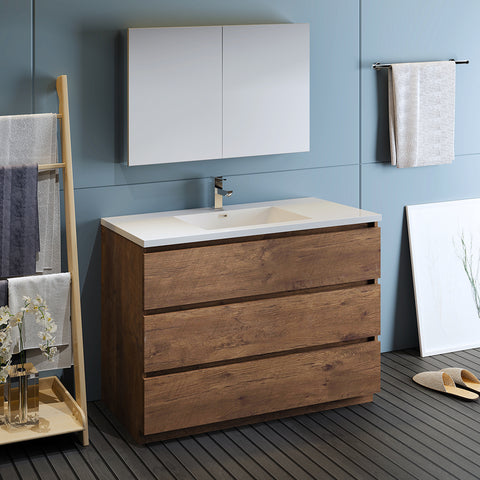 "Image of Fresca Lazzaro 48"" Rosewood Free Standing Modern Bathroom Vanity w/ Medicine Cabinet"