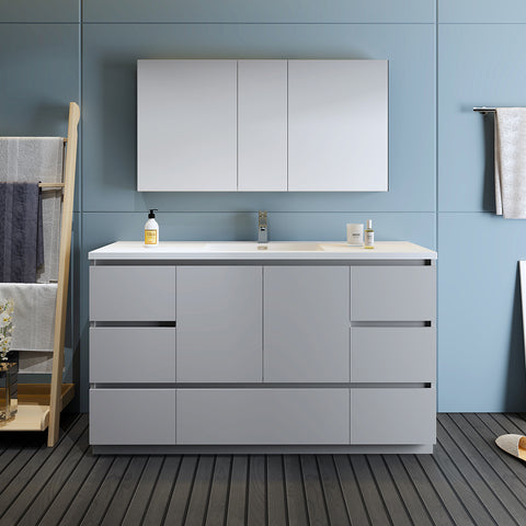 "Image of Fresca Lazzaro 60"" Gray Free Standing Single Sink Modern Bathroom Vanity w/ Medicine Cabinet"