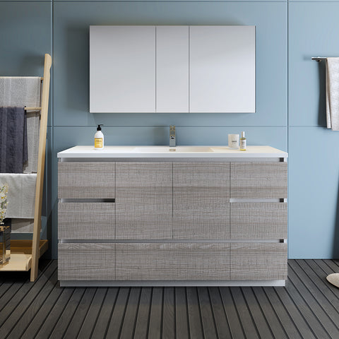 "Image of Fresca Lazzaro 60"" Glossy Ash Gray Free Standing Single Sink Modern Bathroom Vanity w/ Medicine Cabinet"
