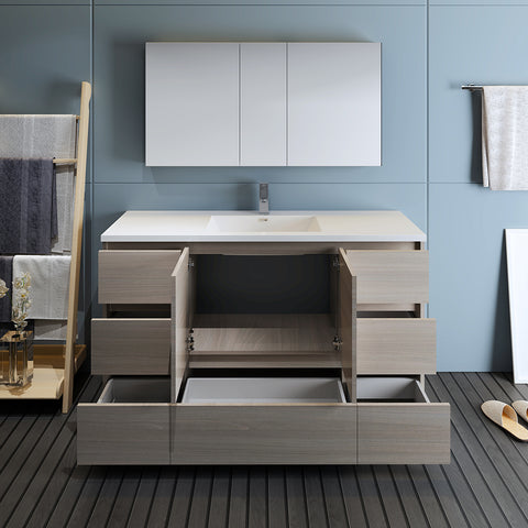 "Image of Fresca Lazzaro 60"" Gray Wood Free Standing Single Sink Modern Bathroom Vanity w/ Medicine Cabinet"