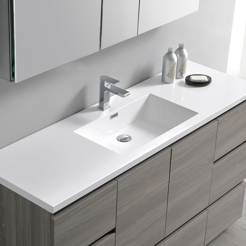 "Fresca Lazzaro 60"" Gray Wood Free Standing Single Sink Modern Bathroom Vanity w/ Medicine Cabinet"