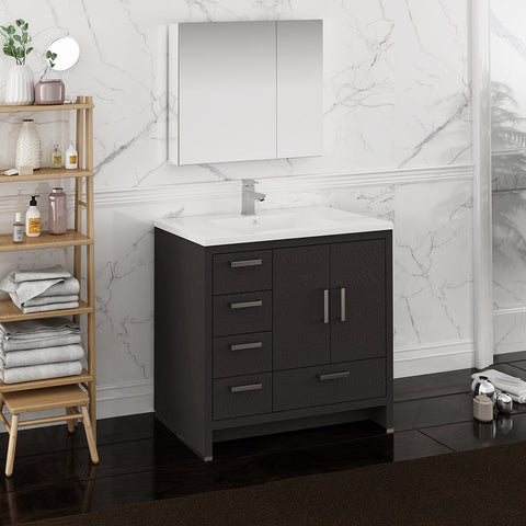"Fresca Imperia 36"" Dark Gray Oak Free Standing Modern Bathroom Vanity w/ Medicine Cabinet- Left Version"