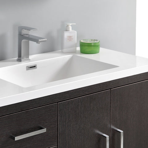"Image of Fresca Imperia 36"" Dark Gray Oak Free Standing Modern Bathroom Vanity w/ Medicine Cabinet- Left Version"