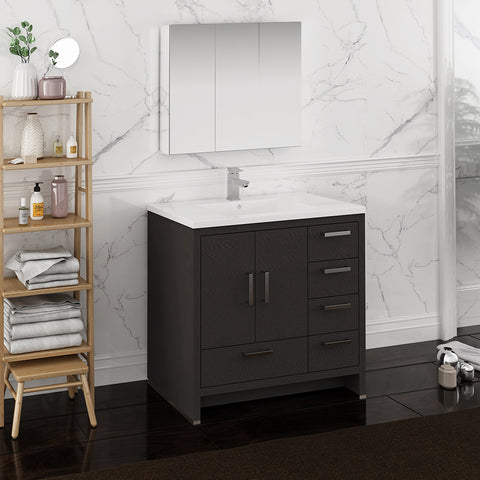 "Image of Fresca Imperia 36"" Dark Gray Oak Free Standing Modern Bathroom Vanity w/ Medicine Cabinet - Right Version"