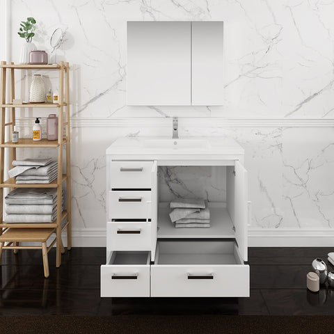 "Fresca Imperia 36"" Glossy White Free Standing Modern Bathroom Vanity w/ Medicine Cabinet- Left Version"