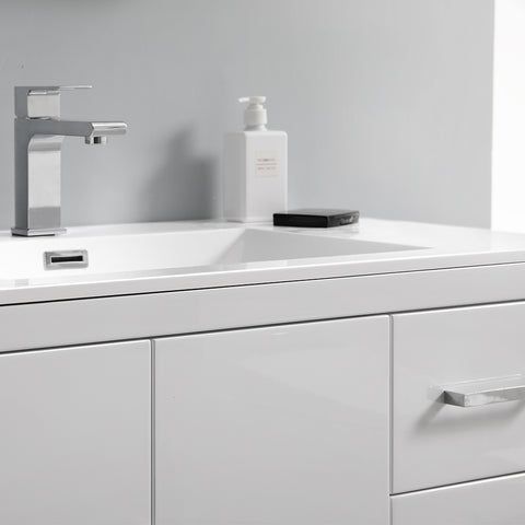 "Image of Fresca Imperia 36"" Glossy White Free Standing Modern Bathroom Vanity w/ Medicine Cabinet- Left Version"