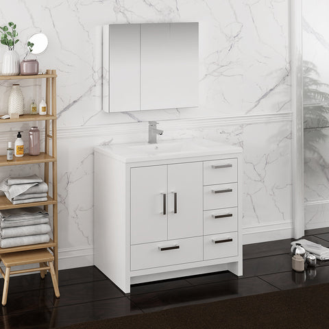 "Image of Fresca Imperia 36"" Glossy White Free Standing Modern Bathroom Vanity w/ Medicine Cabinet - Right Version"