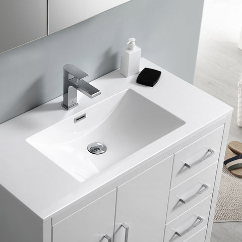 "Fresca Imperia 36"" Glossy White Free Standing Modern Bathroom Vanity w/ Medicine Cabinet - Right Version"