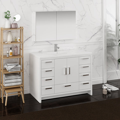 "Fresca Imperia 48"" Glossy White Free Standing Modern Bathroom Vanity w/ Medicine Cabinet"