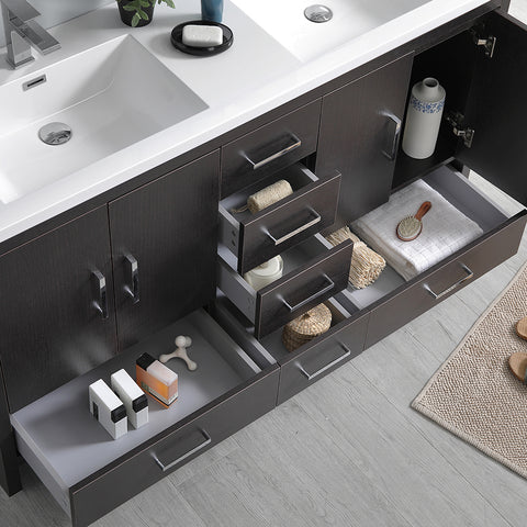 "Image of Fresca Imperia 60"" Dark Gray Oak Free Standing Double Sink Modern Bathroom Vanity w/ Medicine Cabinet"