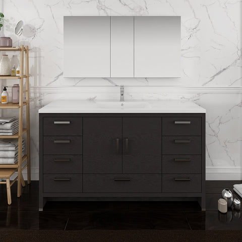 "Image of Fresca Imperia 60"" Dark Gray Oak Free Standing Single Sink Modern Bathroom Vanity w/ Medicine Cabinet"