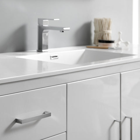 "Fresca Imperia 60"" Glossy White Free Standing Single Sink Modern Bathroom Vanity w/ Medicine Cabinet"