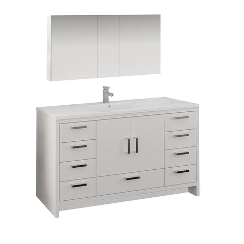 "Image of Fresca Imperia 60"" Glossy White Free Standing Single Sink Modern Bathroom Vanity w/ Medicine Cabinet"