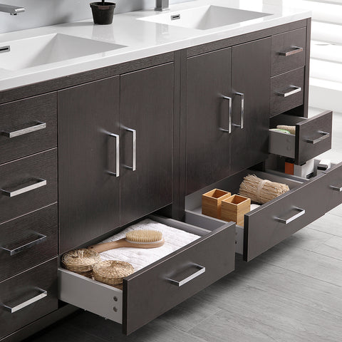 "Image of Fresca Imperia 72"" Dark Gray Oak Free Standing Double Sink Modern Bathroom Vanity w/ Medicine Cabinet"