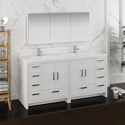 "Fresca Imperia 72"" Glossy White Free Standing Double Sink Modern Bathroom Vanity w/ Medicine Cabinet"