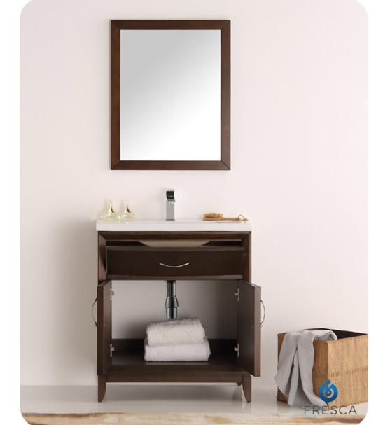 "Fresca Cambridge 30"" Antique Coffee Traditional Bathroom Vanity with Mirror - Bathroom Vanity Portal"