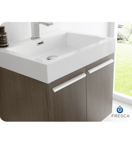 Image of Fresca Alto 22.5 Inch Gray Oak Wall Hung Modern Bathroom Vanity with Medicine Cabinet