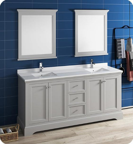 "Image of Fresca Windsor 72"" Gray Traditional Bathroom Vanity with Mirror - Bathroom Vanity Portal"