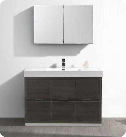 "Image of Fresca Valencia 48"" Gray Oak Free Standing Modern Bathroom Vanity with Medicine Cabinet - Bathroom Vanity Portal"