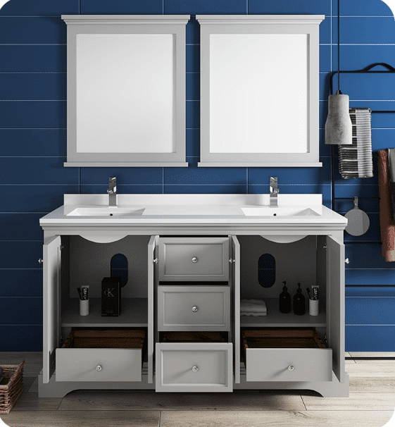 "Fresca Windsor 60"" Gray Traditional Bathroom Vanity with Mirror - Bathroom Vanity Portal"