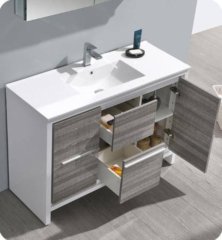 "Image of Fresca Allier Rio 48"" Ash Gray Single Sink Modern Bathroom Vanity with Medicine Cabinet - Bathroom Vanity Portal"