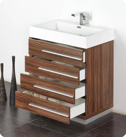 "Image of Fresca Livello 30"" Walnut Modern Bathroom Vanity with Medicine Cabinet - Bathroom Vanity Portal"