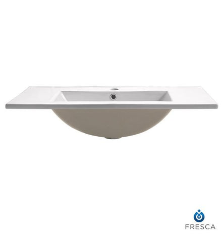 "Fresca Torino 30"" White Integrated Sink with Countertop"