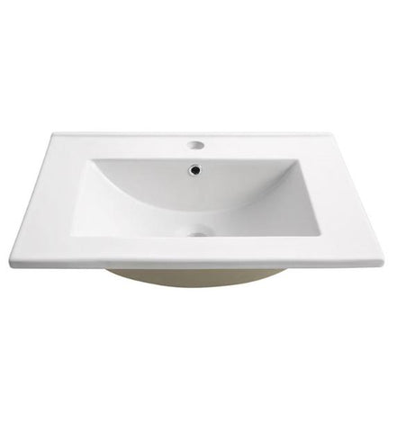 "Fresca Torino 24"" White Integrated Sink with Countertop"