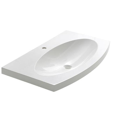 "Image of Fresca Energia 36"" White Integrated Sink with Countertop"