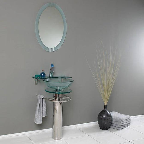 "Fresca Ovale 24"" Modern Glass Bathroom Vanity w/ Frosted Edge Mirror"