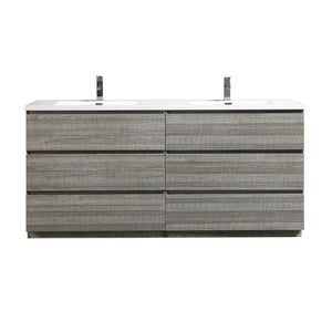 Moreno Bath Angeles 70.5 Inch Modern High Gloss Ash Gray Vanity with Double Reinforced Acrylic Sinks