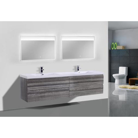 Moreno Bath Bohemia 70.5 Inch High Gloss Ash Gray Wall Mounted Modern Vanity with Double Reinforced Acrylic Sinks