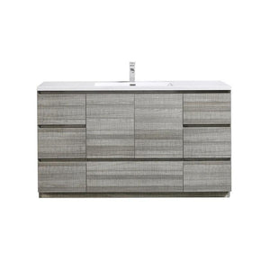 Moreno Bath Angeles 58.75 Inch Modern High Gloss Ash Gray Vanity with Reinforced Acrylic Sink