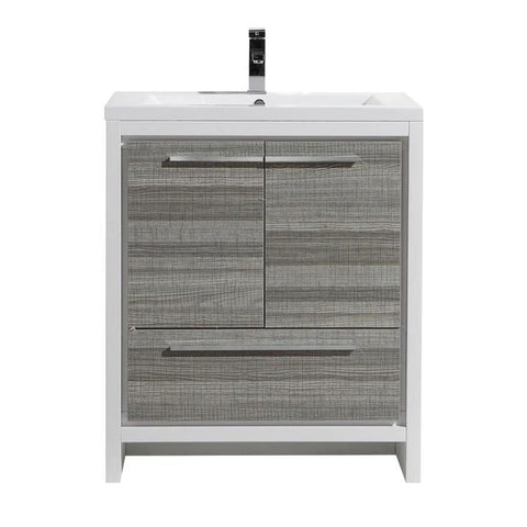 Moreno Bath Dolce 29.4 Inch High Gloss Ash Gray Modern Vanity with Reinforced Acrylic Sink