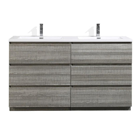 Image of Moreno Bath Angeles 58.75 Inch Modern High Gloss Ash Gray Vanity with Double Acrylic Sinks