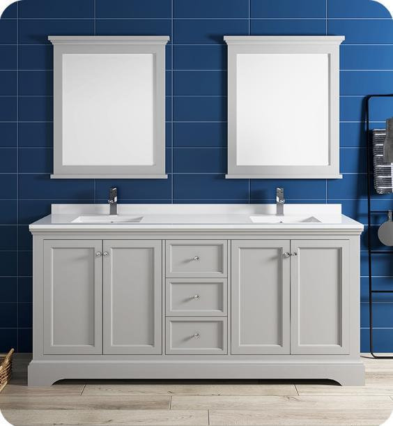"Fresca Windsor 72"" Gray Traditional Bathroom Vanity with Mirror - Bathroom Vanity Portal"