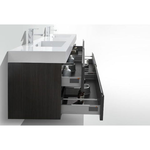 Image of Moreno Bath Fortune 78.75 Inch Dark Gray Oak Wall Mounted Modern Vanity with Double Acrylic Sinks